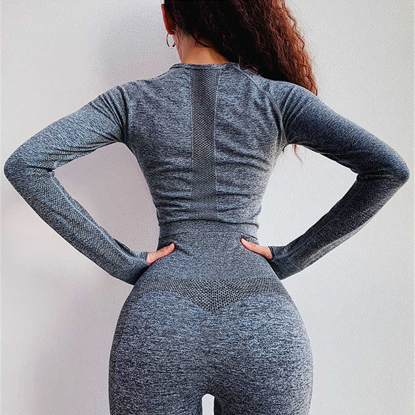 Seamless Crop Top Women Long Sleeve Workout Shirt With Tumb Hole High Quality Hollow Out Sports Tops Gym Stretchy Yoga Shirts