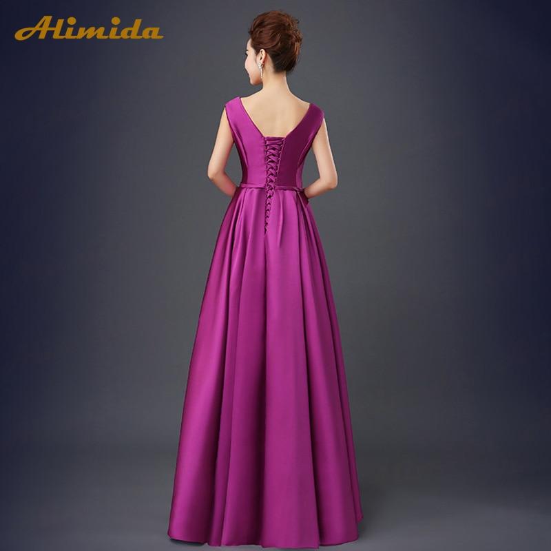 ALIMIDA Robe De soirée 2018 robes de soirée élégantes étage Long col en v dos Corset Robe De soirée formelle a-ligne vestidos de festa - 2