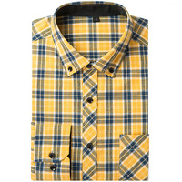 New Mens Cotton Casual Plaid Shirts Pocket Long Sleeve Slim Fit Comfortable Brushed Flannel Male Shirt