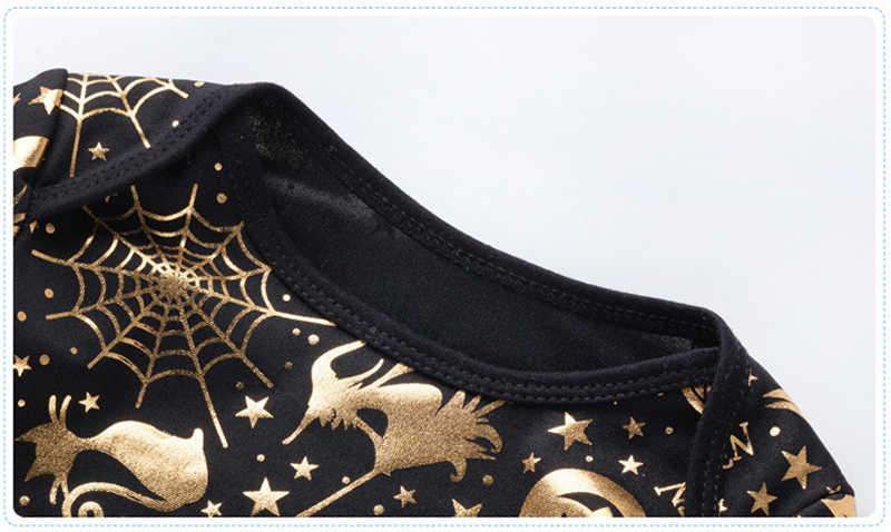 Комбинезон для младенцев с длинным рукавом черный Тыква Золото печати дети Хэллоуин костюм для маленьких мальчиков Одежда младенцев