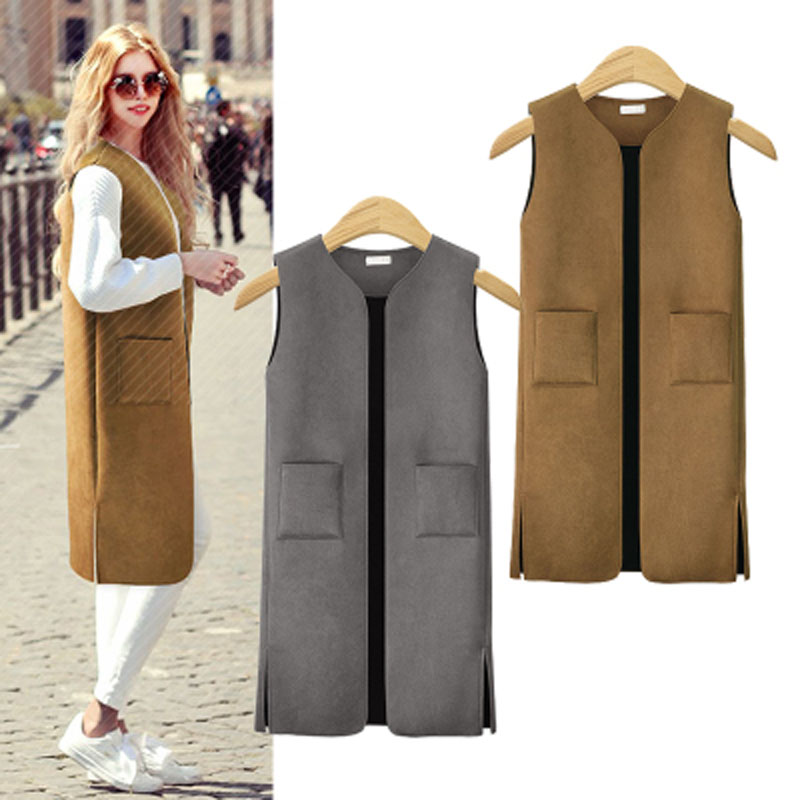 XL 5XL autumn and winter new vest jackets large size women faux leather long waistcoat suede coat female gray brown clothing