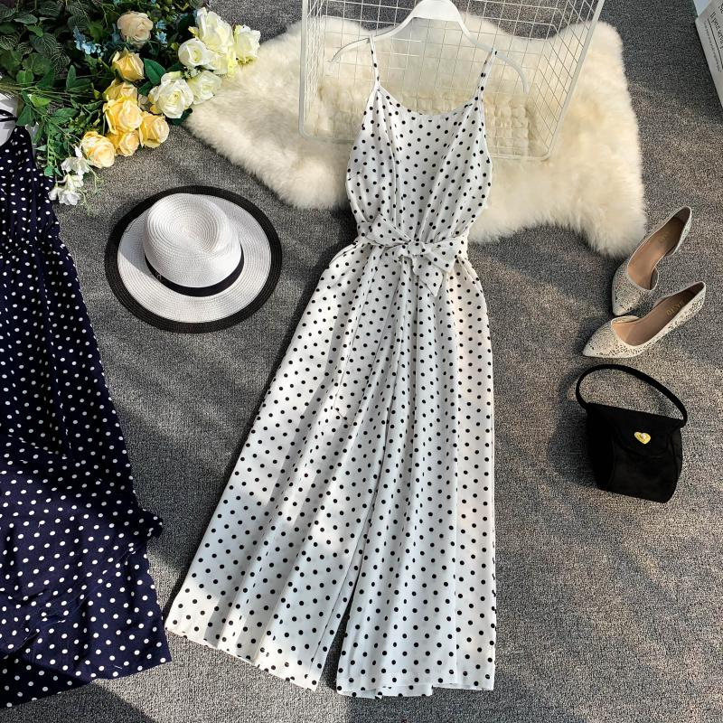 Holiday Retro Dot Print V Collar Sleeveless High Waist Broad-legged Overalls Beach Rompers Womens Jumpsuit E521 19