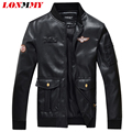 LONMMY M-4XL Leather jacket men coat PU Suede mens jackets Air Force 1 Military jackets men coats Army bomber 2016 autumn winter