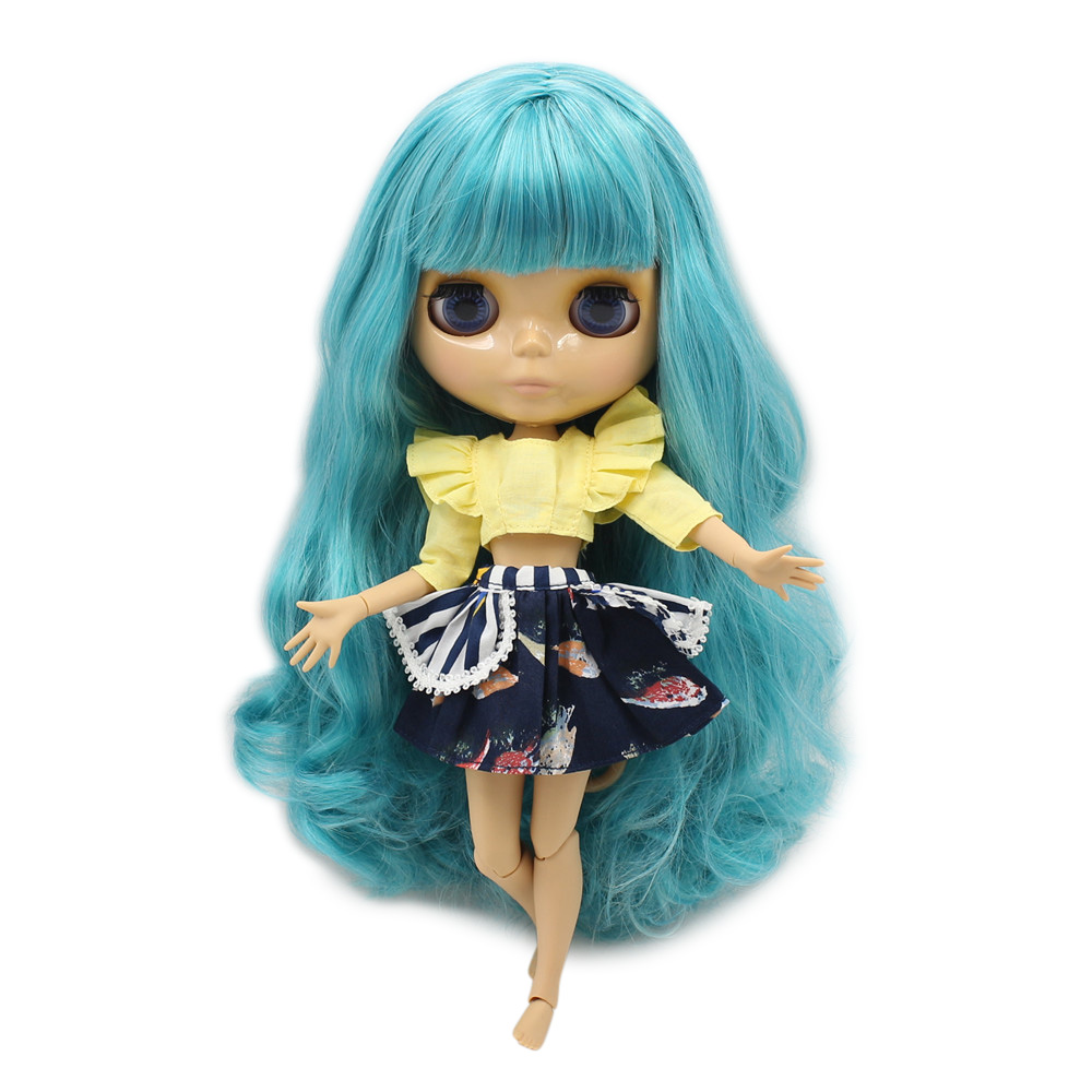 factory blyth doll bjd long green Aquamarince mix white hair with fringes bangs Tan skin joint