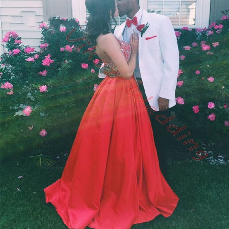 e699f95054c Sexy Red Backless Long A line Prom Dresses 2017 Halter Neck Satin Fully Beaded  Top Sparkly Formal Prom Gowns Custom-in Prom Dresses from Weddings   Events  ...