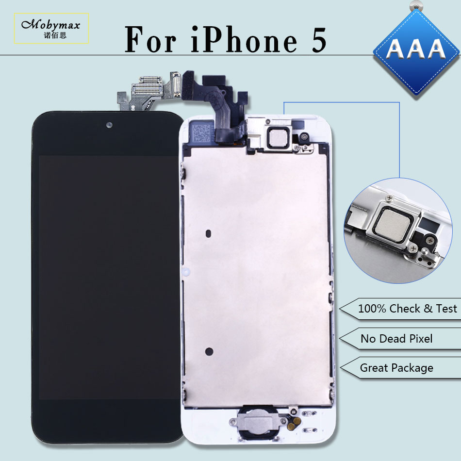 Mobymax 10PCS/lot Display for iPhone 5 A1428 A1429 LCD Ecran Pantalla Module Touch Screen Full Assembly+Home Button+Front Camera