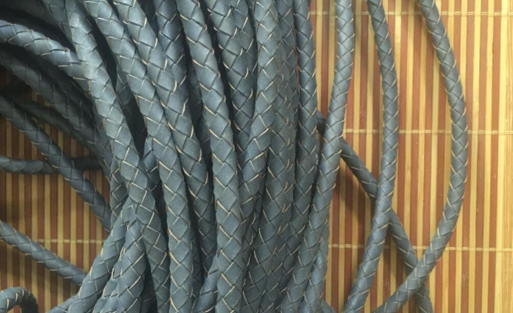 5meters 6mm Gray Braided leather cord Real Leather braided Italian style Cord for Craft Jewelry Making