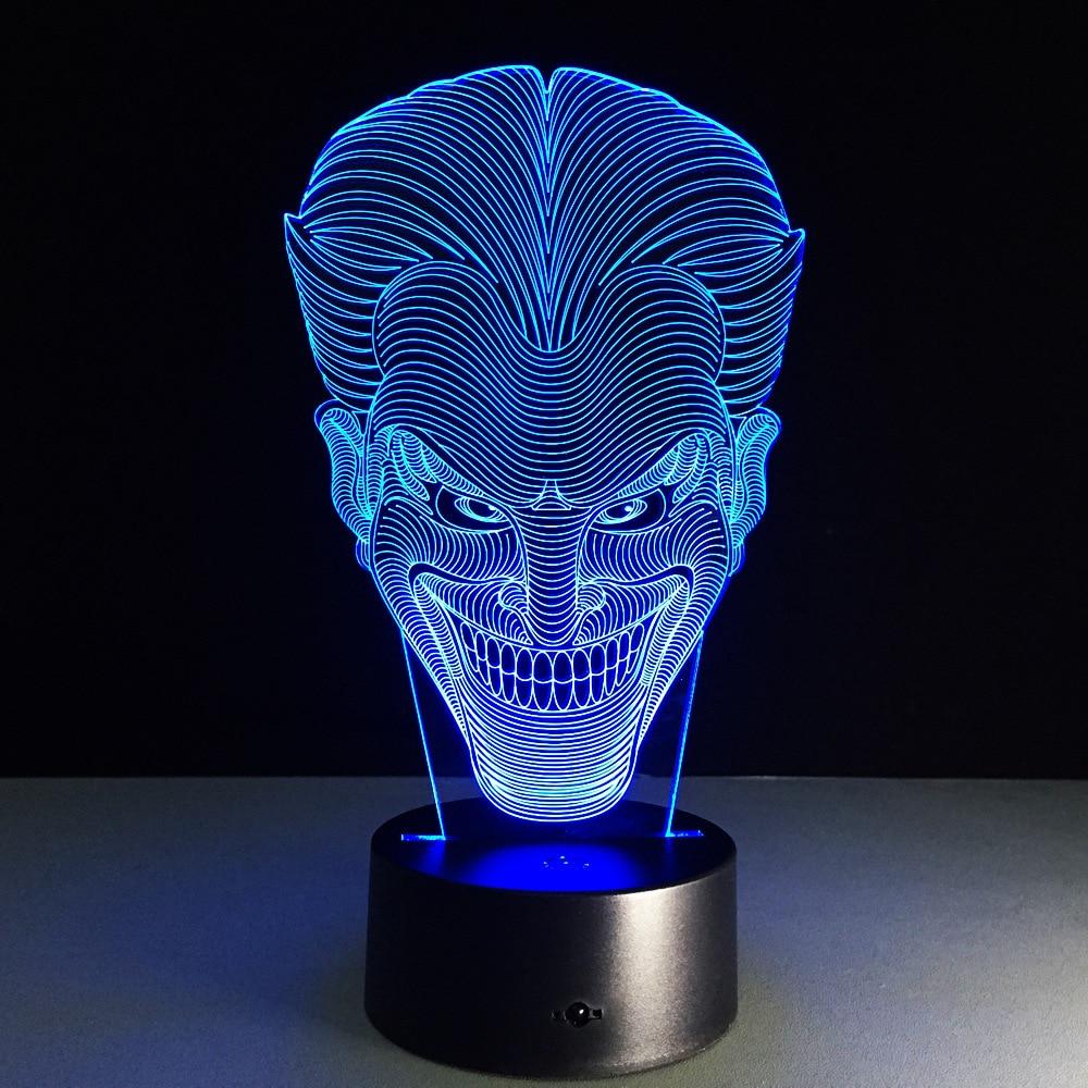 Joker 3D Led Night Light Colorido Acrílico Batman Joker USB LED - Luces nocturnas - foto 2