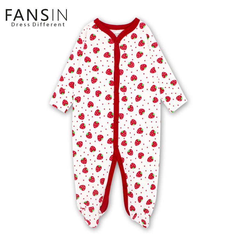 FANSIN Brand Autumn Baby Rompers Strawberry Newborn Babies Infant 0-12 M Girls Boys Clothes Jumpsuit Kid Romper Baby Clothing puseky 2017 infant romper baby boys girls jumpsuit newborn bebe clothing hooded toddler baby clothes cute panda romper costumes