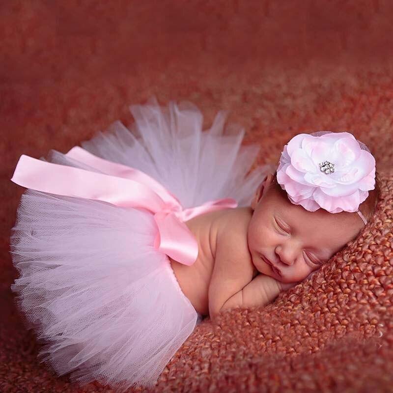 Newborn Baby Girl Red Tutu Skirt  Flower Headband Photography Costume Photo Prop