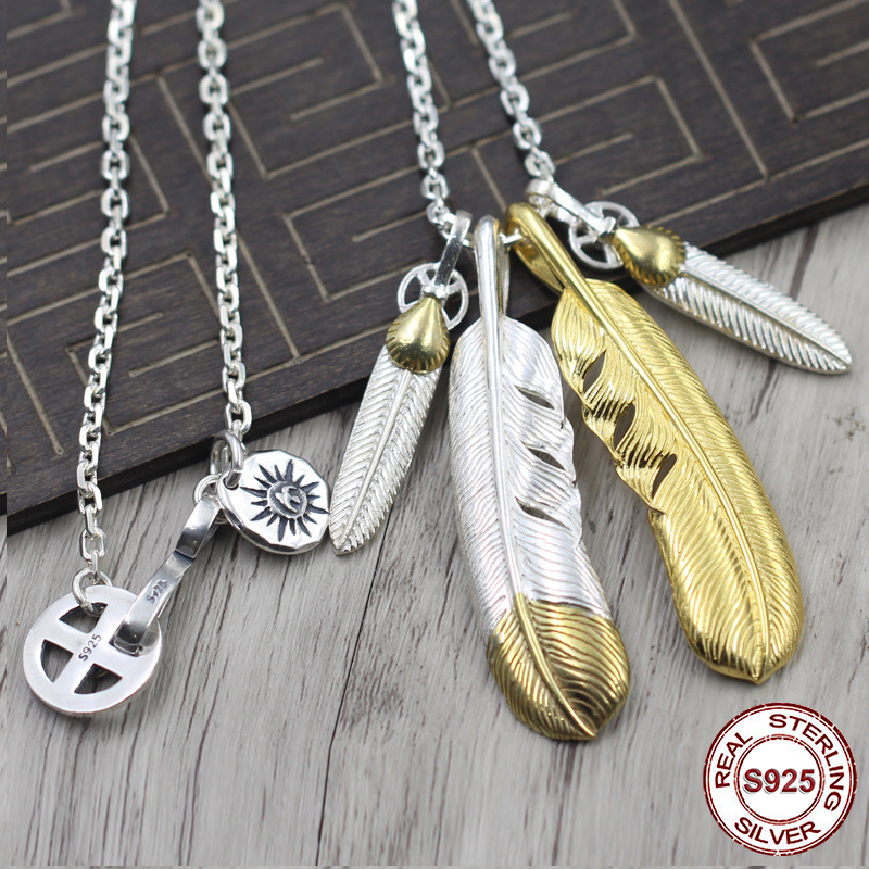 S925 Sterling Silver Necklace Pendant Personality pop style Feather series Eagle cross wheel domineering modeling Send a gift