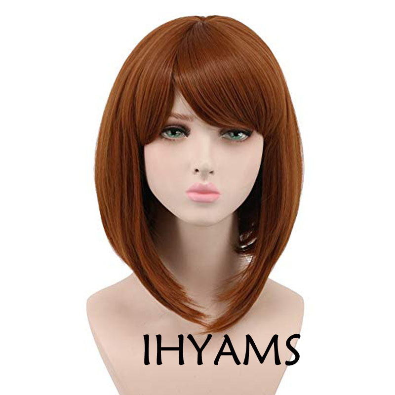 My Hero Academia Ochako Uraraka Cosplay Wigs 35cm Brown Heat Resistant Synthetic Hair Perucas Cosplay Wig + Wig Cap