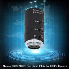 6 60 مللي متر CS C جبل عدسة دليل القزحية التكبير فاريفوكال F1.6 ل كاميرا تلفزيونات الدوائر المغلقة مجهر الصناعية