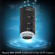 6 60mm CS C Mount Lens Manual IRIS ZOOM Varifocal F1.6 for CCTV Camera Industrial Microscope