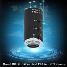 6 60mm CS C monture objectif manuel IRIS ZOOM Varifocal F1.6 pour caméra de vidéosurveillance Microscope industriel