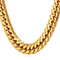 Chunky Necklace 13MM Gold Color Black Hiphop Chains 316L Stainless Steel Statement Heavy Necklace Chain For