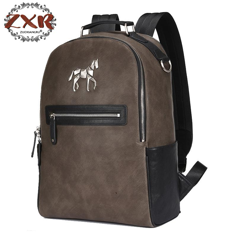 2018 New Unicorn Backpack Men's Leather Shoulder Bag Korean College Student Bag Leisure Backpack korean version canvas shoulder bag backpack student bag ladies cartoon cute new child birthday gift