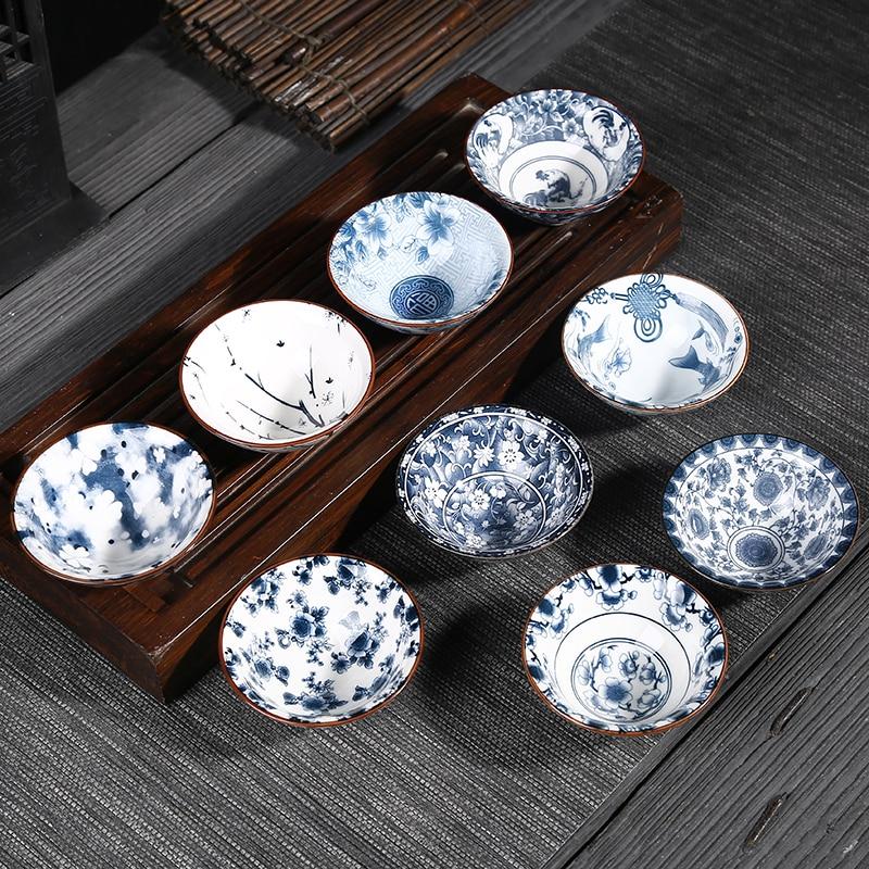 6Pcs/set Blue And White Chinese Porcelain Kung Fu Tea Cup Bowl Set Ceramic Drinkware Retro Tea Cup Gaiwan Creative Gifts Random