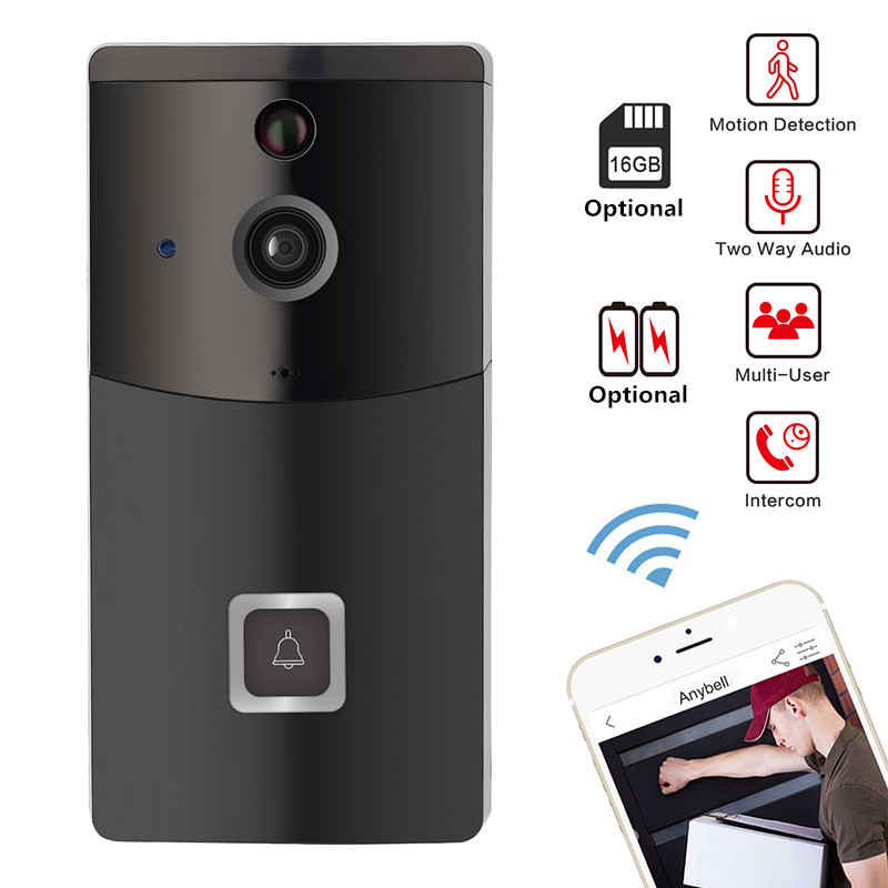 Smart Video Doorbell WiFi Wireless Security DoorBell Visual Recording PIR IR Night Vision Remote Home Monitoring By Smartphone