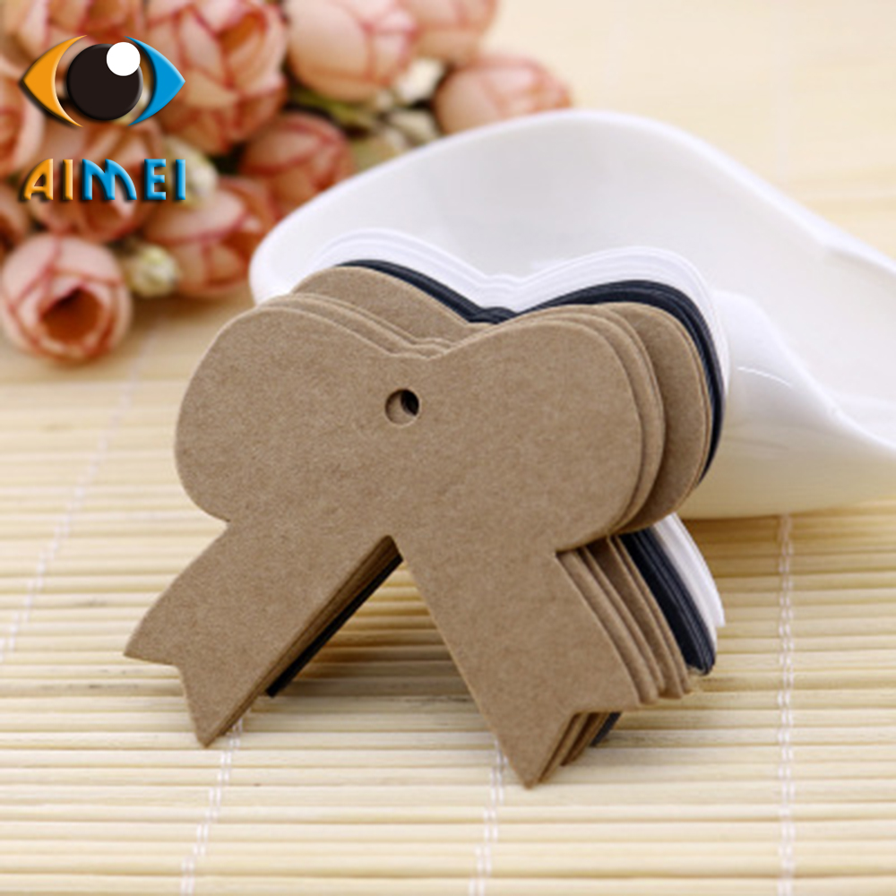 Kraft paper bow design female clothing childrens clothing tag blank card rafting bottle decoration card gift bag tag paper card