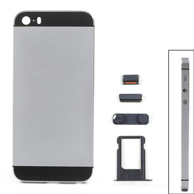 1 Piece High Quality New Middle Frame Housing For iPhone 5S with full small parts back battery door with Logo and Text