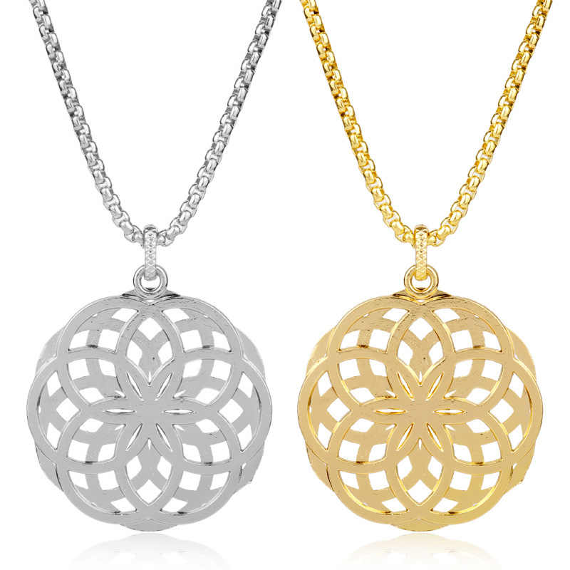 Flower of Life Mandala Pendant Yoga Chakra Geometry Mens Stainless Steel Spiritual Necklace Women Amulet Religious Jewelry Gift