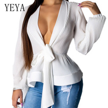 YEYA Women Lantern Sleeve Lace-up Chiffon Blouses Sexy Deep V Neck Casual Office Pleated Shirt Summer Elegant Blusas Feminina