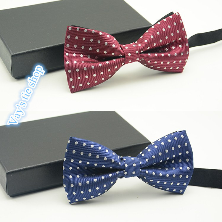 Fashion Dots Bow Ties For Men Jacquard Bowtie Grooms Wedding Striped Tuxedo Red Blue Butterfly Cravat Gravata Brand Freeshipping