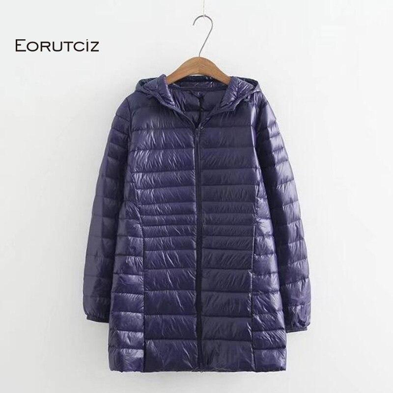 EORUTCIZ зимнее длинное пуховое пальто для женщин плюс Размер 7XL  ультра легкая куртка с капюшоном винтажное теплое Черное Осеннее  пуховое пальто LM143Пуховые пальто