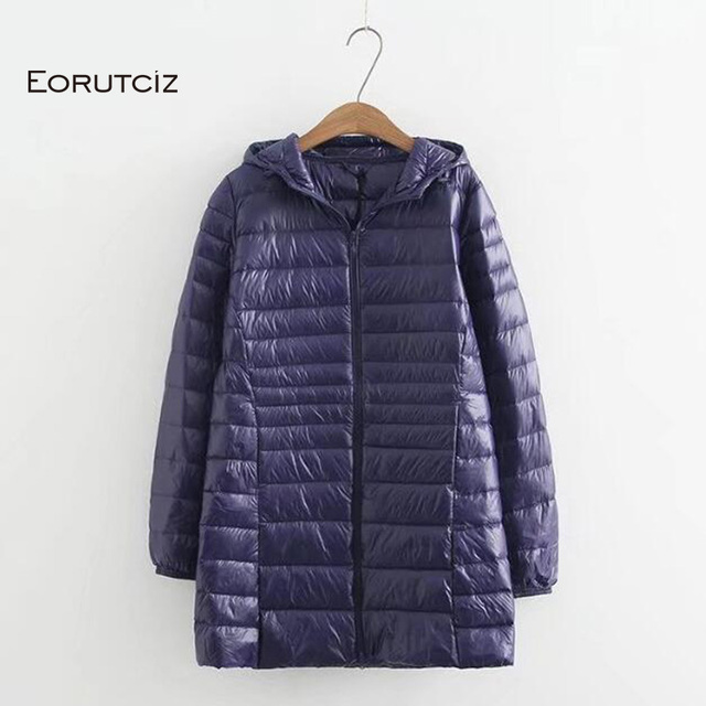 EORUTCIZ Winter Long Down Coat Women Plus Size 7XL Ultra Light Hoodie Jacket Vintage Warm Black Autumn Duck Down Coat LM143