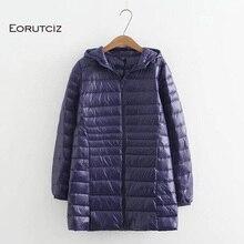 EORUTCIZ kış uzun uzun kaban kadın artı boyutu 7XL Ultra hafif Hoodie ceket Vintage sıcak siyah sonbahar ördek uzun kaban LM143