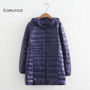 Image 1 - EORUTCIZ manteau Long en duvet de canard pour femme, grande taille 7XL Ultra léger, manteau à capuche Vintage noir chaud, automne LM143