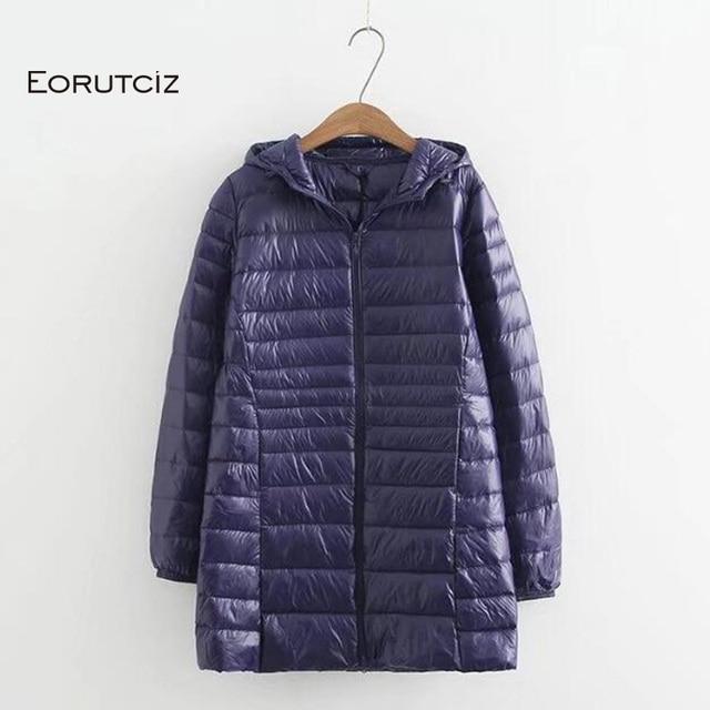 EORUTCIZ manteau Long en duvet de canard pour femme, grande taille 7XL Ultra léger, manteau à capuche Vintage noir chaud, automne LM143