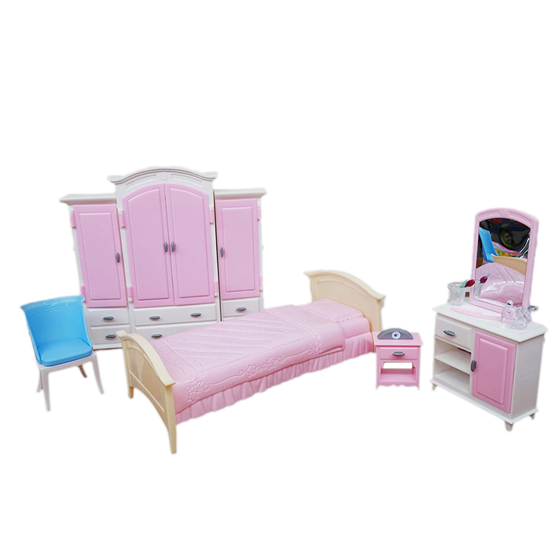 For Barbie Furniture Master Bedroom Miniature Bedchamber Play Set With Big Bed Wardrobe Dresser 1/6 Doll Accessories Girl Gift