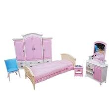 Мебель для Барби, миниатюрная спальня, игровой набор с большой кроватью, шкаф, комод, 1/6, аксессуары для кукол, подарок для девочки