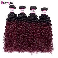 Bestsojoy Brazilian Curly Wave Hair Bundles Virgin Human Hair Extensions 1B/99J Can Buy 1/3/4 Bundles Kinky Curly Bundles