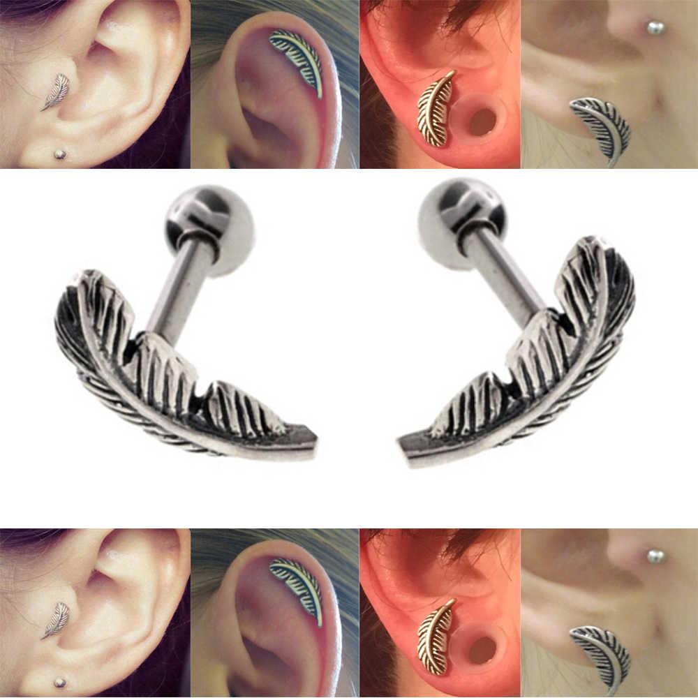 b4f37d2b3683d PAIR Not Sale Feather Ear Cartilage Piercing Tragus Helix Studs Piercing  Body Jewelry 16g Stianless Steel Earrings