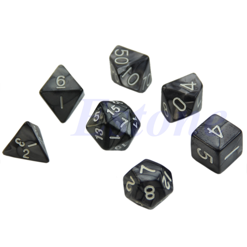 7pcs/set Black Sided Dice D4 D6 D8 D10 D12 D20 Dungeons&Dragon D&D RPG Poly Game