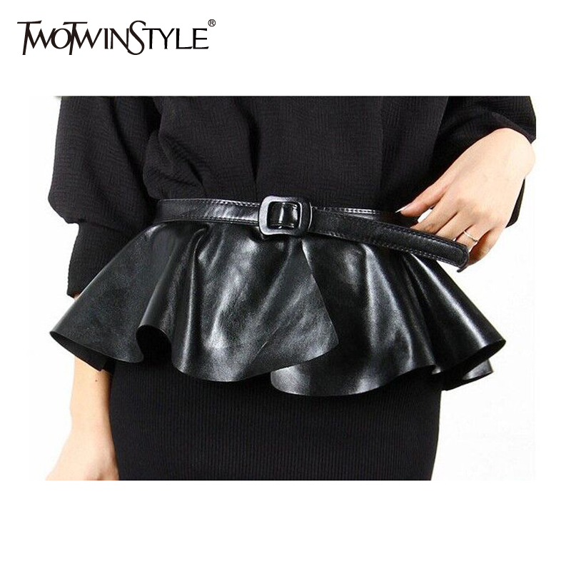 TWOTWINSTYLE Ruffle Female   Belt   for Women PU Leather Corset Harness   Belts   Dresses Costumes Black Metallic Color Korean Fashion