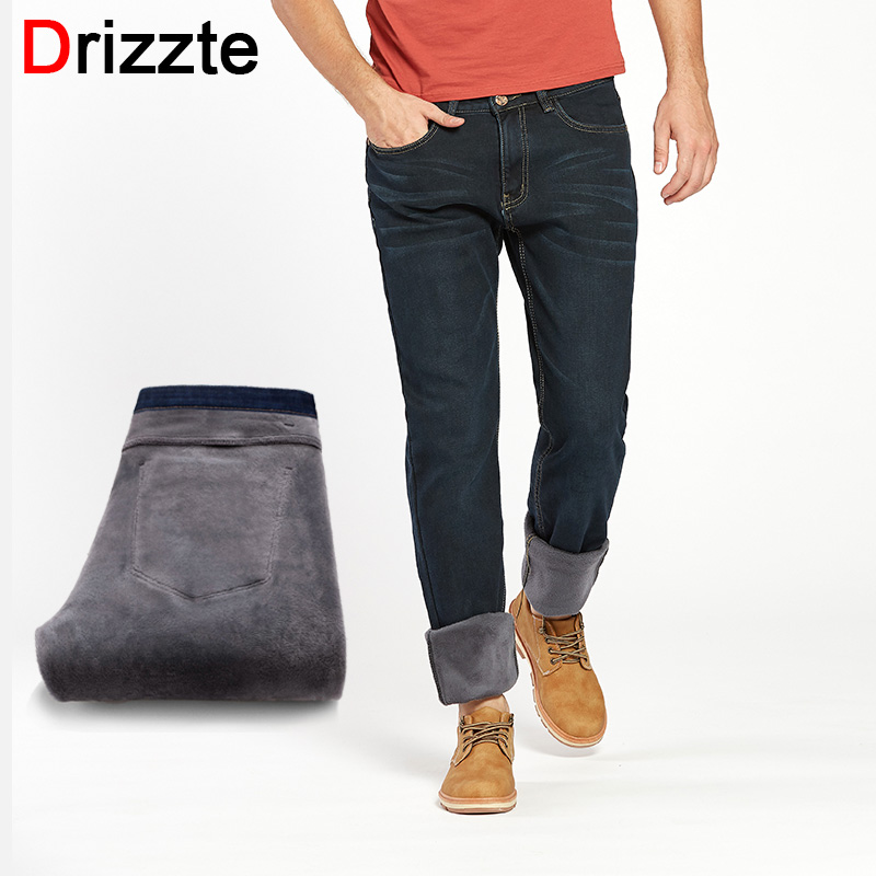 Drizzte Men's Jeans Winter Warm Flannel Lined Stretch Denim Jeans Slim Fit Trousers Pants 33 34 35 36 38 40 42 Jeans men drizzte men s jeans classic stretch blue denim business dress straight slim jeans size 34 35 36 38 pants trousers jean for men