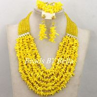 Charming Nigerian Bead Necklaces Wedding Yellow Crystal Coral Beads Jewelry Set African Beads Jewelry Set Free Shipping ABY492