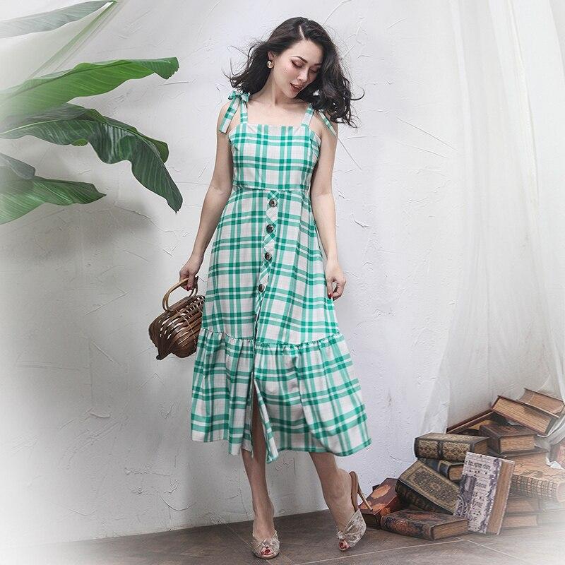 2018 été français Vintage vert robe à carreaux Slim taille haute boutons réglable sangle longue robe fermeture à glissière patte