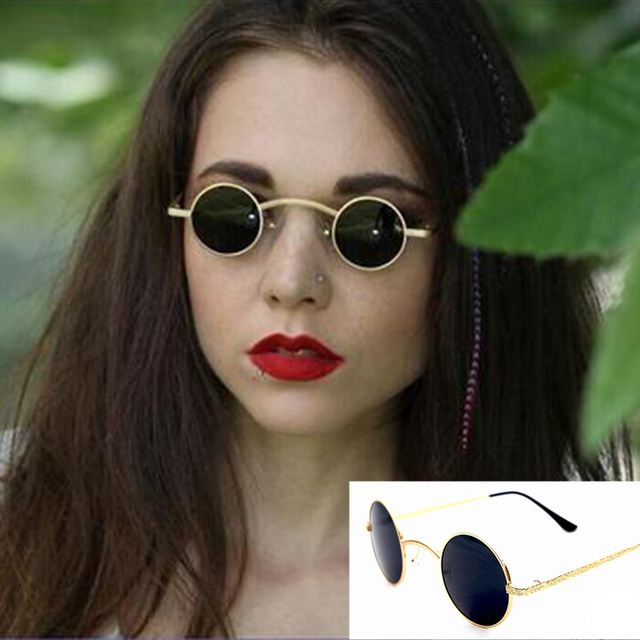 4ac395a1d3a70 AEVOUGE Victorian Sunglasses Vampire Goth Steampunk Small Round Metal  Hollow Frame Men Sunglasses Women Unusual Metal Eyewear