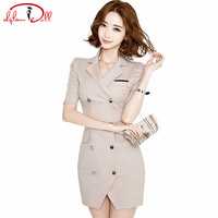 2017 Summer OL Women Office Cloth Double Breasted Short Sleeve Slim Striped Vestidos Suit Collar Mini