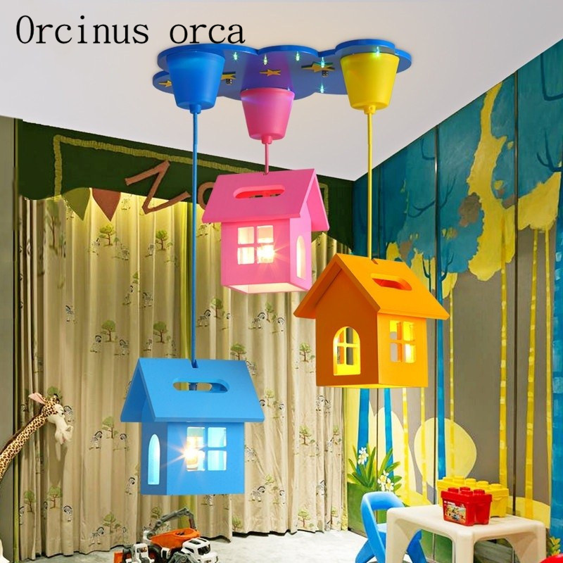 Cartoon small house led chandelier children's room boy and girl bedroom lovely and creative Chandelier free shipping|Pendant Lights| |  - title=