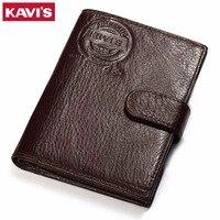 KAVIS Genuine Leather Wallet Men Passport Holder Coin Purse Rfid Magic Walet PORTFOLIO MAN Portomonee Mini