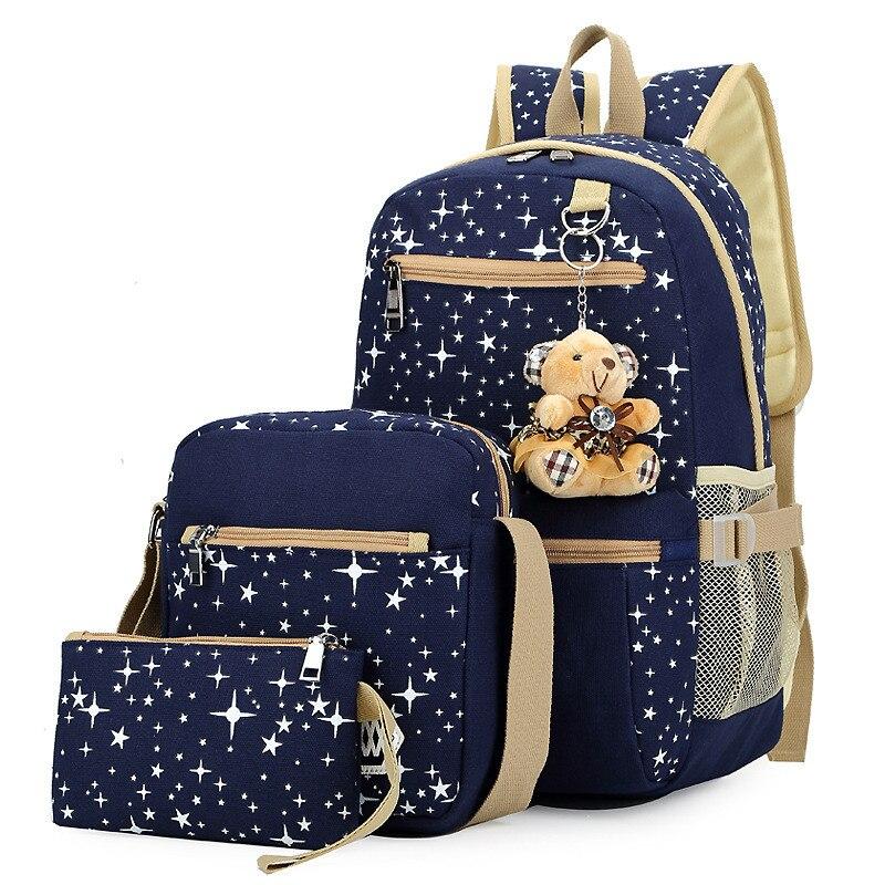 3Pcs Set Women Canvas Backpacks Female Travel School Bags for Teenagers Girls Crossbody Bag Clutch