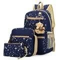 3Pcs/Set  Women Canvas Backpacks Female Travel School Bags for Teenagers Girls Crossbody Bag + Clutch Purse Satchel Mochila