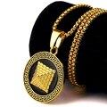 Banhado A ouro Pirâmide Egípcia com o lado Negro colares pingentes Presentes da Jóia Das Mulheres Dos Homens de Hip Hop Iced Out Bling Correntes de Prata