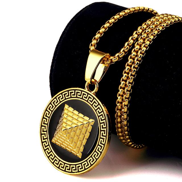 Vintage golden egyptian pyramid pharaoh necklaces pendants hip hop vintage golden egyptian pyramid pharaoh necklaces pendants hip hop jewelry men women iced out bling silver aloadofball Images